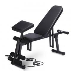 T1多功能健身器材家用仰卧板收腹机哑铃凳仰卧起坐板折叠 健身椅 进口格子皮八档调节 承重500斤