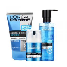 欧莱雅男士水能保湿化妆护肤品套装深层补水滋润洗面奶爽肤水乳液