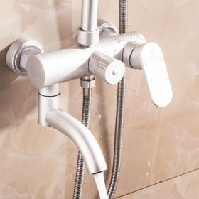 超诺淋浴套装 太空铝增压花洒水龙头 三档冷热可升降喷头带下出水 拒绝生锈 十年质保 历久弥新